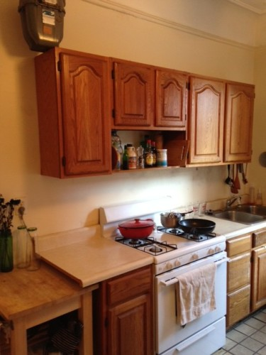 The kitchen has clearly been thoughtlessly thrown together for use as a rental.