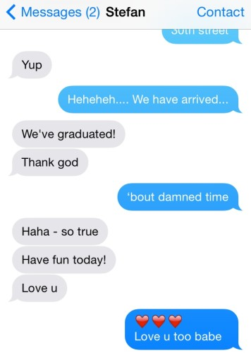 My final text with him on my birthday, Saturday, July 26th. So thankful we acknowledged how we felt.