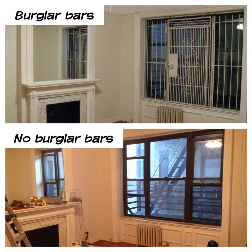 The burglar bars were put in back in the 1970s when the neighborhood wasn't the utopia it has become today. A grim reminder of where we started.