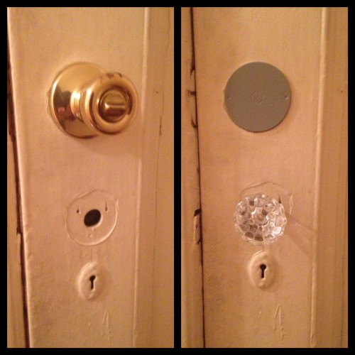 Ugly cheap brass doorknob was installed instead of just fixing the existing hardware. WTF?