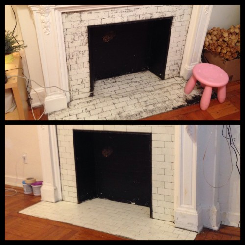 Before (top) with partially stripped fireplace tile. After (bottom) is a much better look.