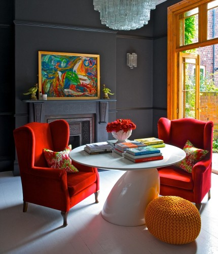 Black Walls, Red Chairs, White Table..... Delicious!