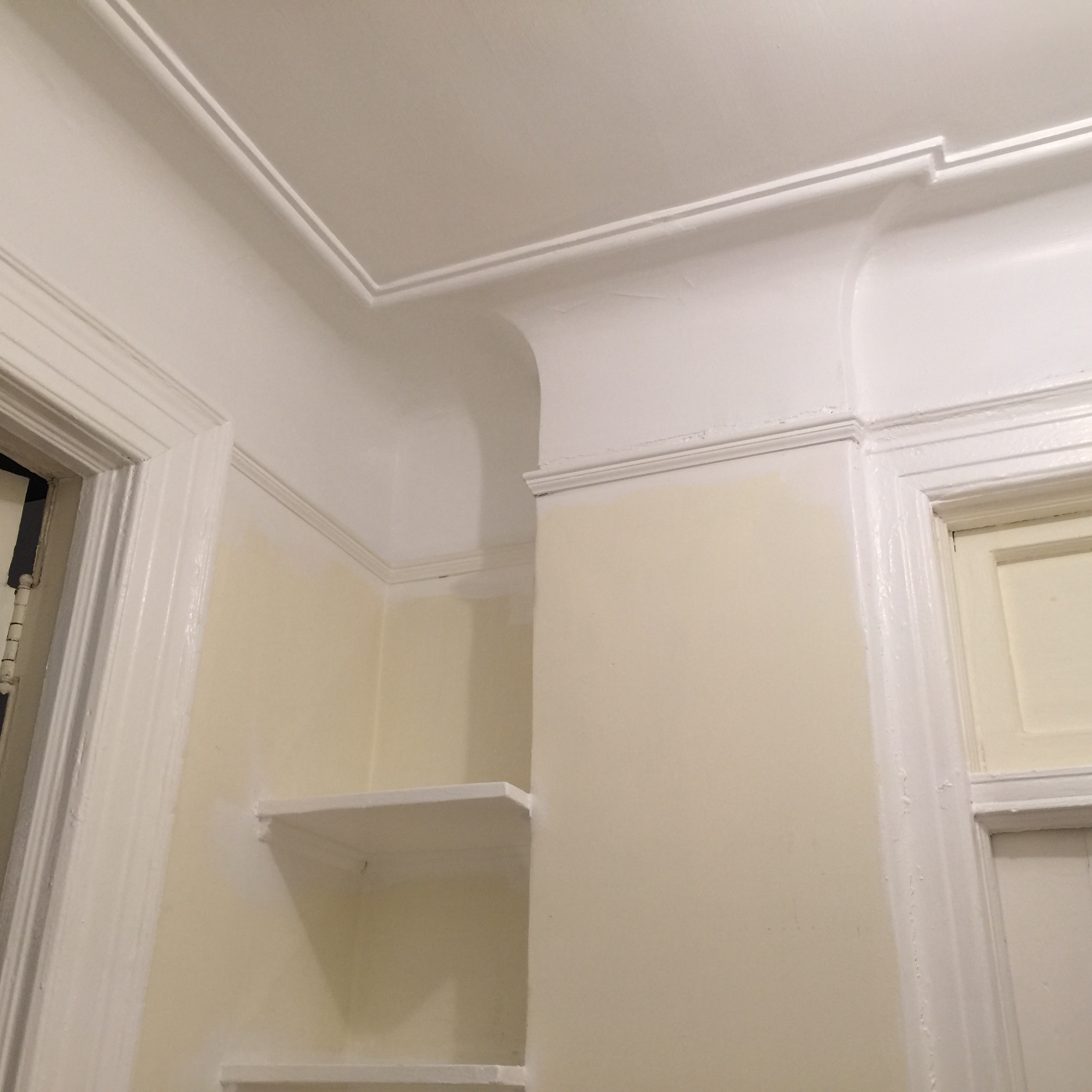 The big oops and the big fix center hall part i half for Benjamin moore chantilly lace