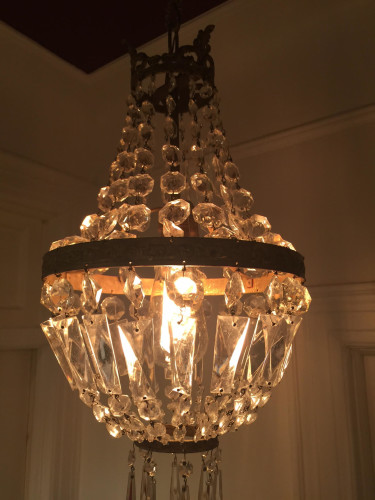 Close up of French crystal basket chandelier