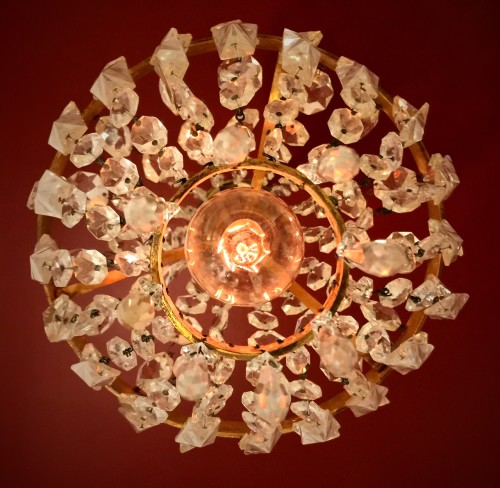French crystal basket chandelier from the bottom