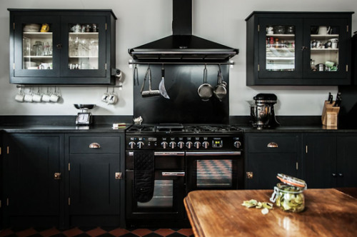 British Standard [UK], Black fitted customer kitchen with cupboards.... So beautiful!