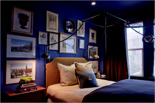 This bedroom in Drawing Room Blue (Farrow and Ball - No 253) is a big inspiration for what we want to achieve in our bedroom. More to be revealed.