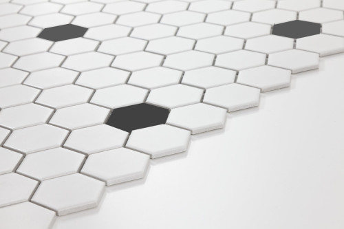Two inch white hexagon tile with black insets... but not too many black insets.