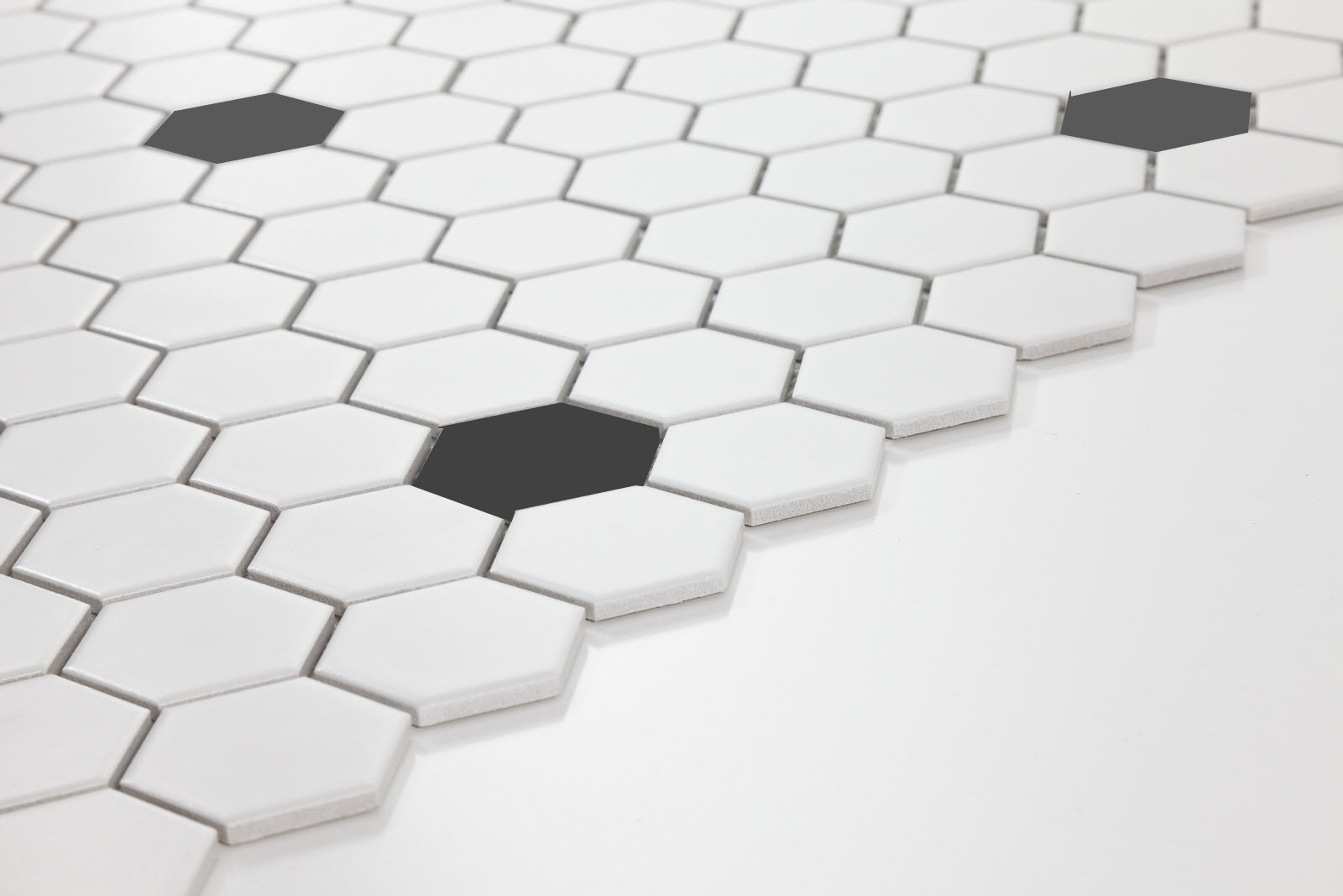 Meanwhile back in the kitchen part iv floored and walled two inch white hexagon tile with black insets but not too many black dailygadgetfo Choice Image