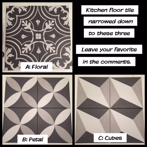"In February, we fell in love with these <a href=""http://www.homedepot.com/s/merola%20twenties"" target=""blank"">Merola Tiles</a> from Home Depot. We asked for feedback from our Facebook friends and the votes were all over the board, but B: Petal was the winner overall."