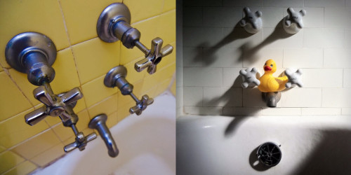 It seems that having four valves in your tub is quite common in New York City. [Left] My 1934 bathroom from my West Village apartment [Right] my 1929 bathroom in Hell's Kitchen.