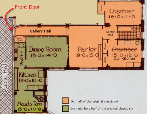 This is how our original classic six apartment was built, in the middle of the last century, it was split in two. We now own the orange portion.