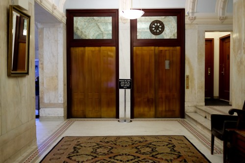 The lobby in our 1910 Beaux Arts building retains nearly all of it's original look.
