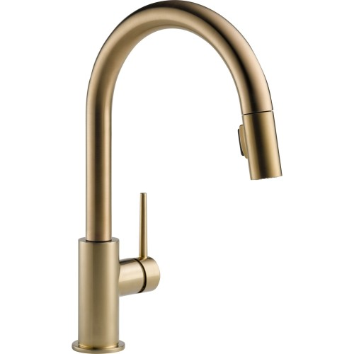 "Isn't this Delta Trinsic in Champagne Bronze™ beautiful! [Source: <a href=""http://www.deltafaucet.com/kitchen/details/9159-cz-dst.html"" target=""blank"">Delta Faucets</a>]"