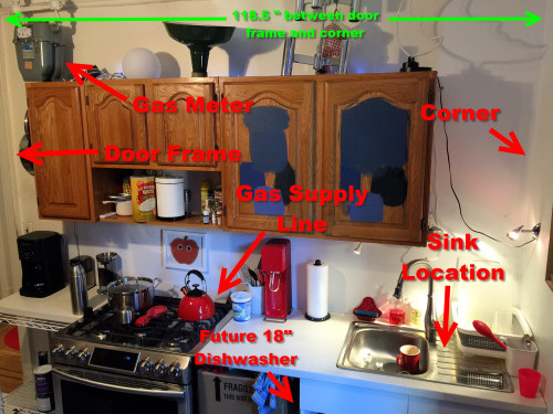 "Our very un-glamorous kitchen as seen one morning in December 2015. The limitations of this 118.5"" space are very real and more complicated than they should be."