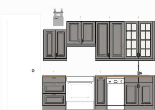 This was my first attempt at designing the kitchen last year using Ikea Akrum cabinets. I wasn't satisfied.