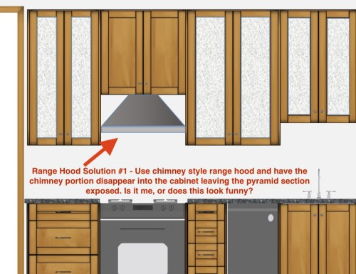 Solution #1: Using the chimney style wall hood, and having the pyramid portion exposed above the stove, but the chimney portion hidden inside a standard cabinet.