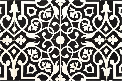 "Our amazing soon to be kitchen floor: ""Gypsy"" in Black and White from [<i>Source:<a href=""""https://www.villalagoontile.com/gypsy-black-and-white-encaustic-cement-tile.html"""" target=""""blank"""">Villa Lagoon Tile</a></i>]"