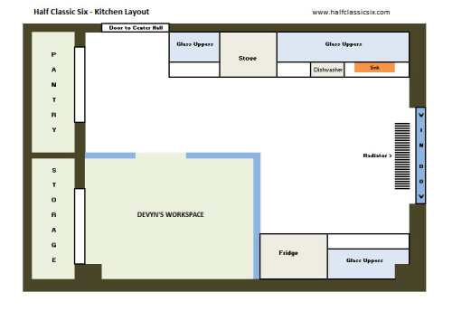 The challenge: Fit a kitchen into a former bedroom while providing office/work-space for Devyn