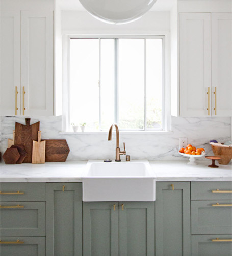 "We were elated when we discovered <a href=""http://www.semihandmadedoors.com/"" target=""blank"">SemiHandmade Cabinet doors</a> for IKEA cabinet frames, but ultimately the limitations of fixed sizes forced my to search for other options. [<i>Source: <a href=""http://sarahshermansamuel.com/kitchen-before-after/"" target=""blank"">Sarah Sherman Samuel Blog</a></i>]"
