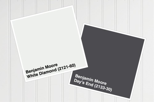 Our wall color will be White Diamond and the trim will be in Day's End, both from Benjamin Moore Paints.