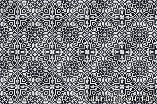 "What we love most about this pattern is how there are really two patterns embedded within each other. And, since there is only <a href=""https://www.villalagoontile.com/gypsy-black-and-white-encaustic-cement-tile.html"" target=""blank"">one source</a>... We aren't likely to see it everywhere we go."