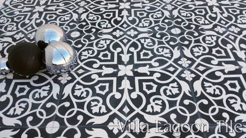 """Gypsy"" in Black and White from <a href=""https://www.villalagoontile.com/gypsy-black-and-white-encaustic-cement-tile.html"" target=""blank"">Villa Lagoon Tile</a>"