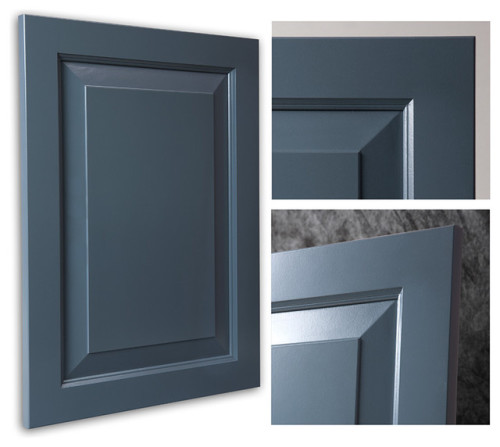 "This beautiful smoky blue cabinet door is NOT from <a href=""http://www.barkercabinets.com"" target=""blank"">Barker Cabinets</a>, but had this option (slant raised center panel, with inside edge detail on the frame, and an eased edge on the outside of the frame) been available, this would have been my first choice. While <a href=""http://www.barkerdoor.com/"" target=""blank"">Barker Door</a> allows you to select each profile element, <a href=""http://www.barkercabinets.com"" target=""blank"">Barker Cabinets</a> does not. So, we had to compromise. [<i>Source: <a href=""http://www.houzz.com/photos/1620545/Chesapeake-Smokey-Blue-Showplace-Cabinets-traditional-kitchen-cabinetry-other-metro"" target=""blank"">Houzz</a></i>]"