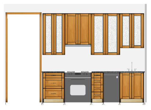 Pretend the brown cabinets are actually Stiffkey Blue, and envision white marble countertops, and this comes close to the final plan for our sink wall.