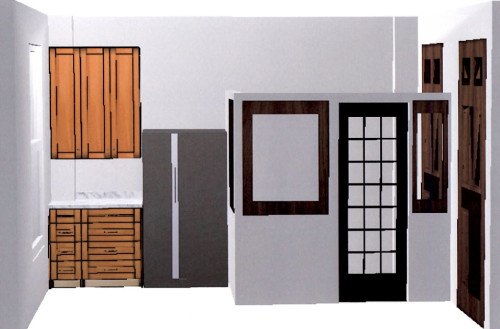 This is the not so accurate view of the far wall in our kitchen plan. I say not so accurate in that these objects only represent the shape and location, but not the aesthetics in any way. But it gives an idea of what I am doing.