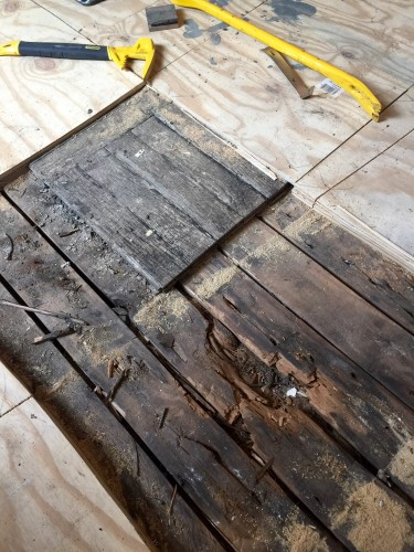 Day one began by taking my circular saw and setting the depth at 1 1/8th inches to cut through the plywood top floor and the original oak parquet. This was where we started and this is also where the dry rot was the worst.