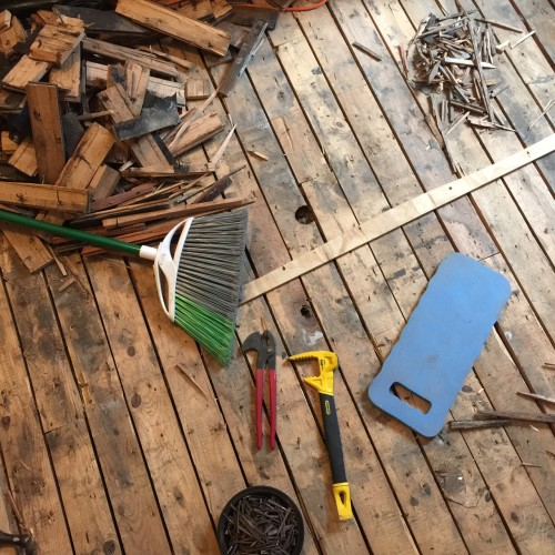 I wasn't trying to capture anything in particular here, but I loved the way the parts came together to form this lovely collage of elements of our weekend of pulling floorboards.