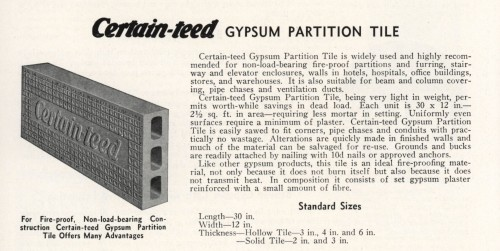 This example of a gypsum partition tile from the Certain-teed catalog of 1936 is a good example of what our walls are constructed from. The imprinted texture helped the plaster to stick. [Source: Building Technology Heritage Library]