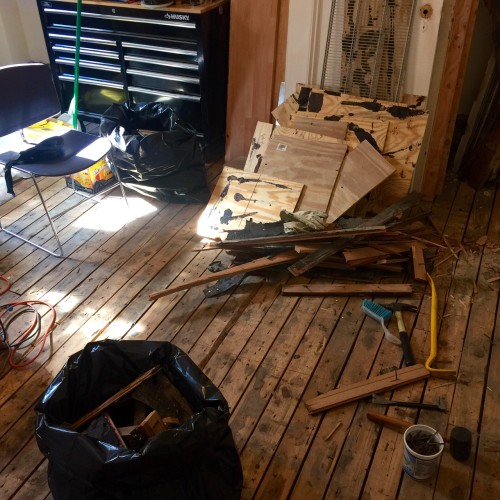 Our kitchen towards the end of pulling up the floor last week. In the end, 18 bags of debris were hauled away.
