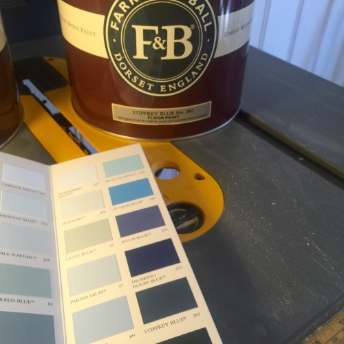 Our beloved Stiffkey Blue paint (No 281) from Farrow & Ball has been procured, along with tinted primer.
