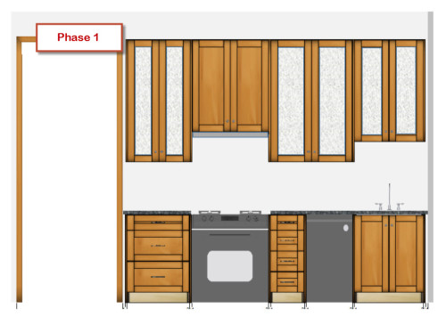 This is the sink wall cabinet plan. Unfortunately, I was not able to color the cabinets in Stiffkey Blue, but you get the idea of what it will be.