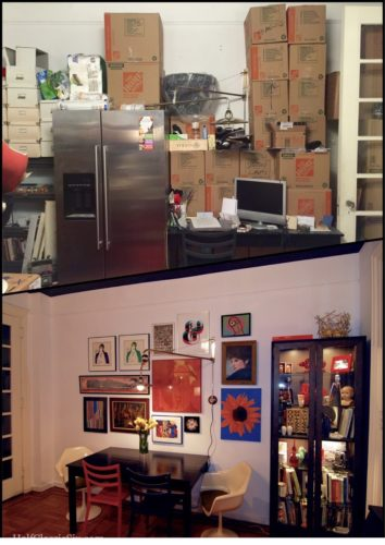 Top: The art from the art wall is in storage (in the bedroom), it is now the home for our refrigerator and the contents of our kitchen awaiting the day when we can put it all back. Bottom: The art wall in April of last year.