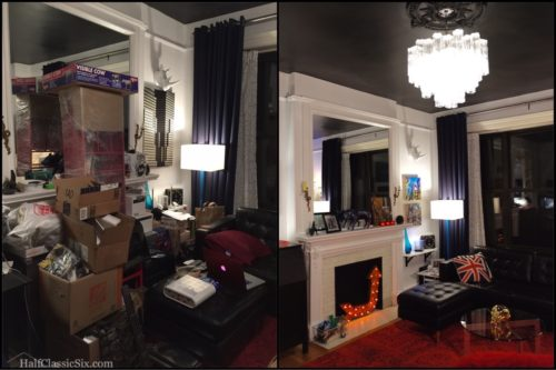 Left: Our living room as of this last week. There is a fireplace somewheres back there. Right: Our living room last summer, tranquil and relaxing.