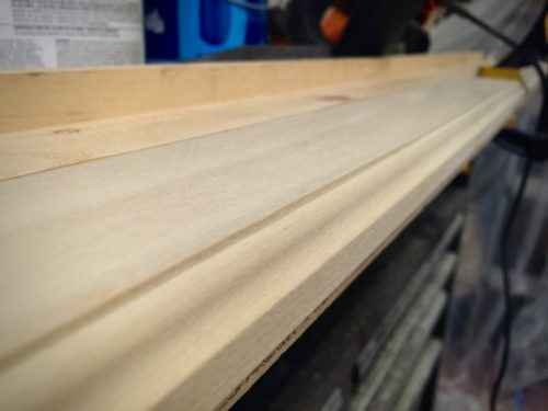 I couldn't find what I had in my head as far as molding goes, so I pulled out my handy router and ogee bit and made my own trim using 1x3 poplar.