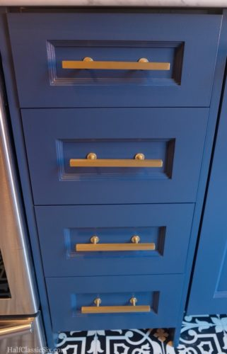 "Drawer fronts installed.... <a href=""http://us.farrow-ball.com//colours/farrow-ball/fcp-product/100281"" target=""blank"">Farrow & Ball - Stiffkey Blue</a> with <a href=""http://lewisdolin.com/barseries.html"" target=""blank"">Lewis Dolin Hardware</a> in brushed brass on our Barker Cabinets. One of the things I love the most about <a href=""http://www.barkercabinets.com"" target=""blank"">Barker Cabinets</a>, is that I was able to order our drawers in 1/4"" increments. This allowed me to order a 13.75"" wide drawer cabinet, maximizing our storage without compromise."