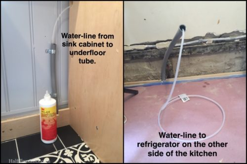 In order to get water for our ice-maker across the room, I installed this gray conduit under the floor back in February. Now that it was finally time to run the waterline, it turned out that getting the water-line under the floor to the other side of the room was a much more difficult task than we expected.