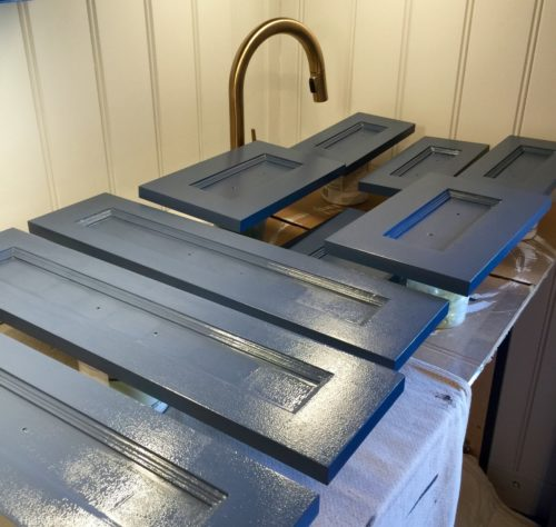"Second coat of <a href=""http://us.farrow-ball.com//colours/farrow-ball/fcp-product/100281"" target=""blank""> Farrow and Ball, Stiffkey Blue (No 281)</a> applied and drying. My paint job is imperfect which is okay because I am about the same level of imperfect!"