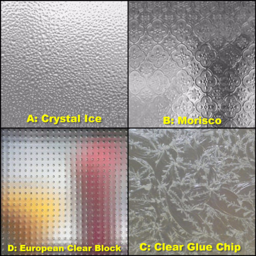 These were the best options available locally, and none of them were our favorites. A: Crystal Ice was not very clear, B: Morisco was too Victorian, C: Clear Glue Chip was too clear, D: European Clear Block was too 1980s.