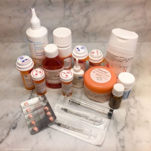 Fritz was on a lot of different medications and treatments. This is an assortment of some of the stuff he has had this past year.