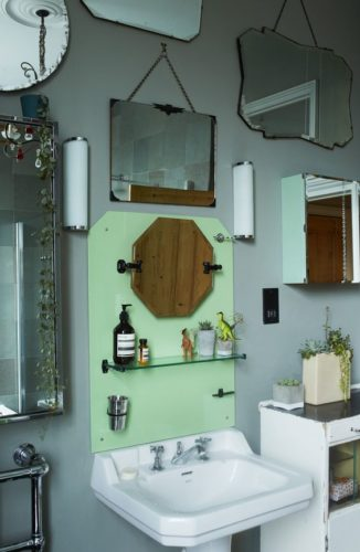 This is the bathroom which first inspired my idea for filling the walls with mirrors. [Source: Design Sponge]
