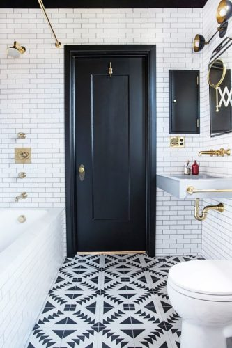 This stunning bathroom is so beautiful! We can't do this, but it is none the less inspirational. [Source: Katie Martinez Design]