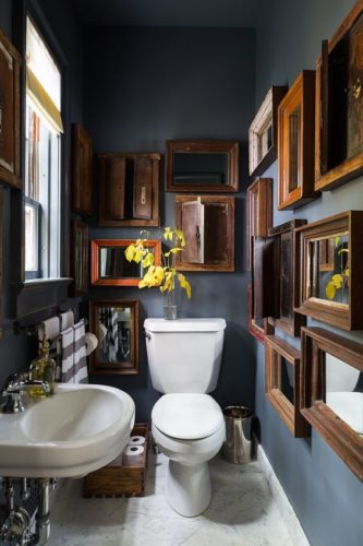 This bathroom was a big inspiration for dark walls and how I could fill them. [Source: Mix and Chic]