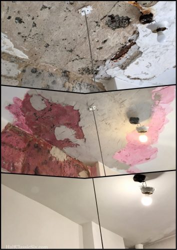 The bathroom ceiling before, during, and after repairs. The before was this way for the past 8 months. We are so glad repairs are finally finished.
