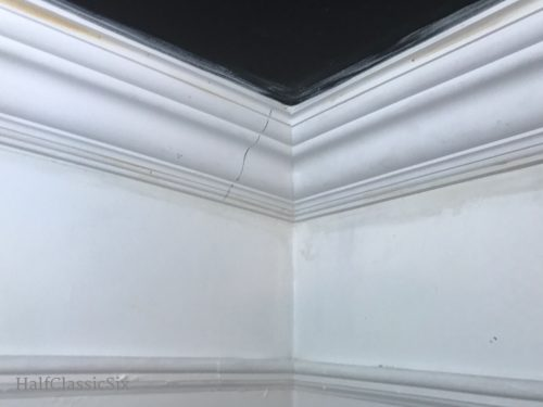 "Finally, crown molding is happening. This is my first <a href=""https://www.thisoldhouse.com/how-to/how-to-cope-joint-crown-molding"" target=""blank"">inside cope cut</a> corner ever. Not to bad!"