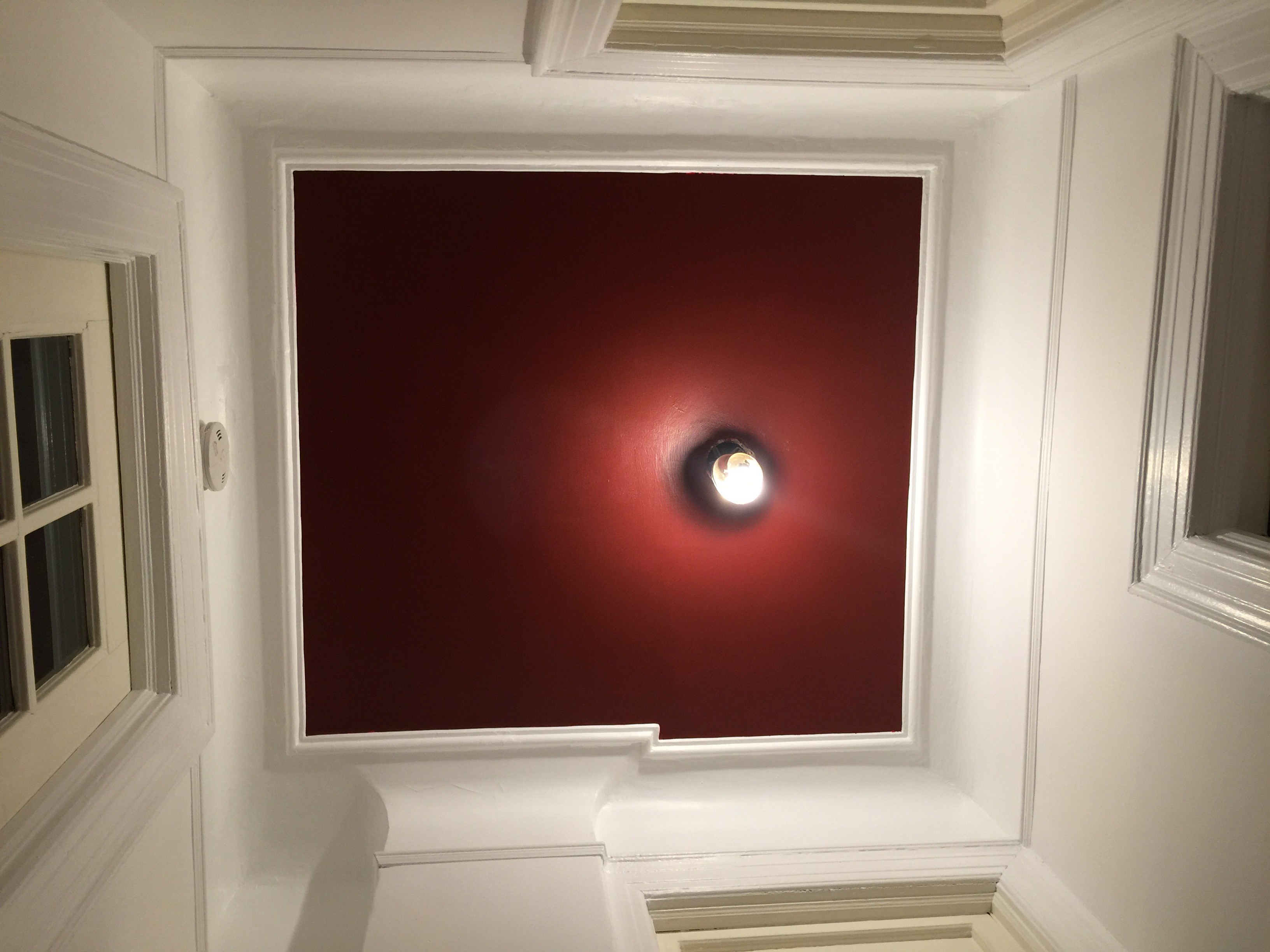 Cottage Red Final Ceiling For Now At Least As Seen From The Floor Benjamin Moore